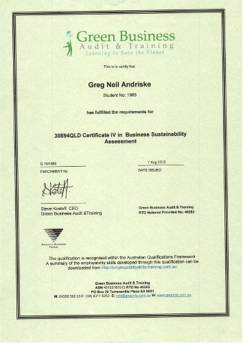 Certificate IV Business Sustainability Assessment.