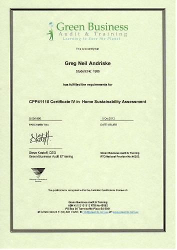Cerificate IV Home Sustainability Assessment.