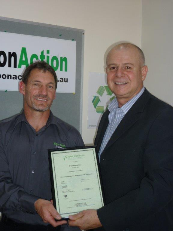 Greg Andriske with Steve Kostoff of Green Business Audit and training                                                                                                                                                                                       receiving my Certificates IV in Business & Home Sustainability Assessment.